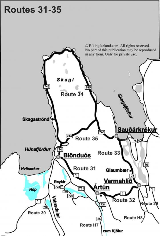 Iceland Map Routes 31-35