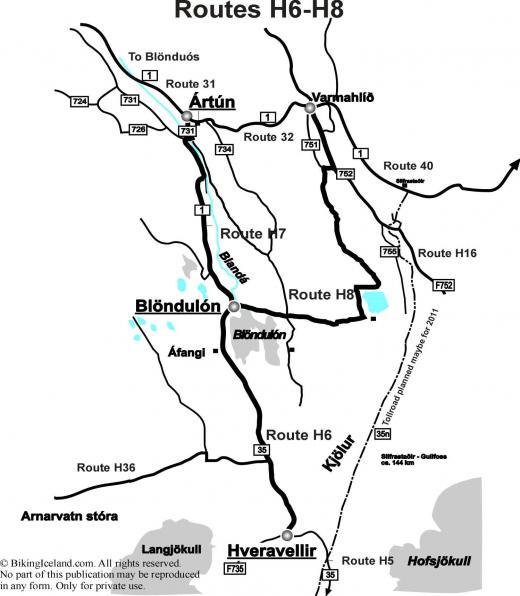 Highlandmap Routes H6-H8 Kjölur