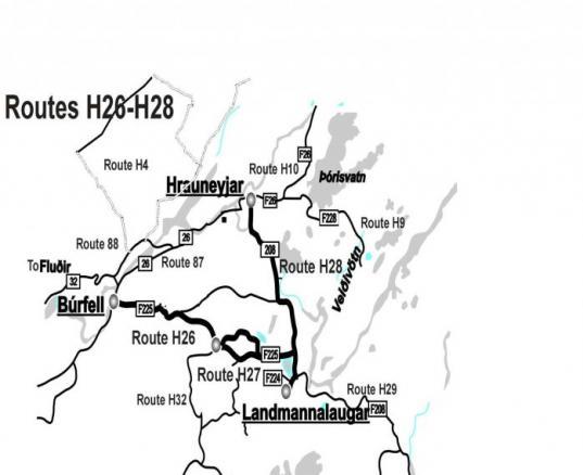 Highland Maps Around Landmannalaugar H26-H28