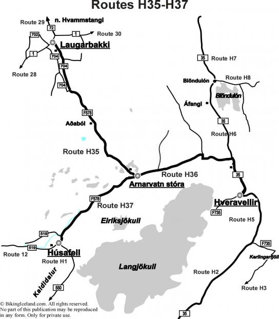 Highland Iceland Map Routes H34-H37